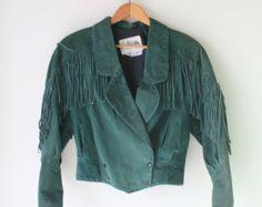 1980s GREEN LEATHER FRINGE.size small. colorful. retro. unisex. 1980s. 1970s. rad. fun. mens. womens. western. coat. fringe. genuine leather