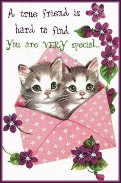 A sweetly beautiful vintage birthday card starring two cute green-eyed kitty cats. Vintage Greeting Cards, Birthday Greeting Cards, Happy Birthday Cards, Birthday Greetings, Vintage Postcards, Birthday Wishes, Pocket Letter, Happy Birthday Vintage, Art Carte