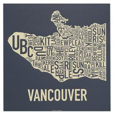 Vancouver Typographic Neighbourhood Map by orkposters on Etsy