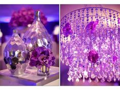 Vintage Wedding Centerpieces Ideas | Purple Wedding Reception Decor With Chandeliers And Orchids 712x534