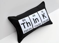Think Word Embroidered Pillow using the Periodic Table Chemistry elements Cute Pillows, Throw Pillows, Boy Room, Kids Room, Science Bedroom, Bedroom Themes, Bedroom Ideas, School Decorations, Periodic Table
