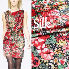 """SALE- 53"""". Red Floral Silk. Red Flowers. Blossom Silk. Pure Silk Fabric. Chinese Wedding dress fabric. Crepe de Chine. 16mm"""