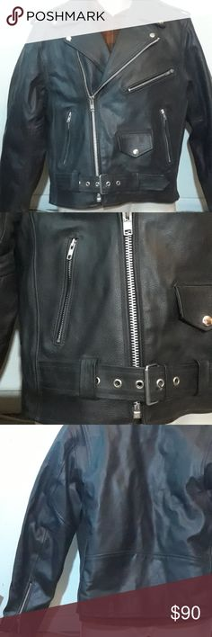 Leather Motorcycle Jacket 44 Like new Allstate leather motorcycle jacket size 44. Has some damage on the left sleeve as pictured. Fully lined real leather jacket. Thanks! Allstate Leather Jackets & Coats Performance Jackets