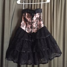 Betsey Johnson Evening dress! Black lace and light pink Betsey Johnson Evening collection dress! Perfect cocktail dress. Never worn! Tags on! Betsey Johnson Dresses