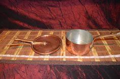 Vintage Bazar Francais 666 Copper Saucepan Pot, Pan & lid w/ Brass Handle
