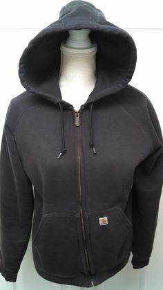 cc39c1392170a Womens Carhartt Hoodie Medium Full Zip Hooded Sweatshirt Jacket Black   Carhartt  FullZipHoodie