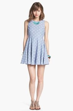 So cute! Polka dot chambray fit & flare dress