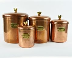 Vintage Copper and Brass Canister Set by DeerStopVintageHome Copper Canisters, Teapots Unique, Coffee Stands, How To Order Coffee, Copper And Brass, Canister Sets, Tea Pots, The Cure, Kitchen Inspiration