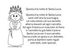 Santa Lucia, Christmas Crafts, Xmas, Italian Language, Learning Italian, Nursery Rhymes, Crafts For Kids, Words, School