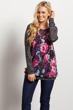 Black Colorblock Floral Knit Sleeve Top - large