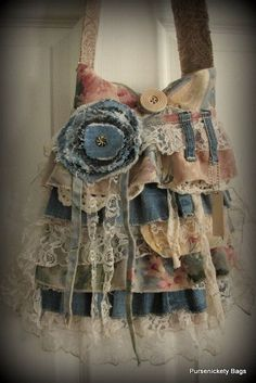 Large Romantic Handbag, Gypsy, Victorian, Shabby Chic, Vintage by PursenicketyBags on Etsy Lace Purse, Denim Purse, Handmade Purses, Handmade Handbags, Fabric Purses, Fabric Bags, Denim Handbags, Purses And Handbags, Mundo Hippie