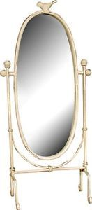 Shabby Chic Cream Distressed Oval Swing Bird Mirror   eBay