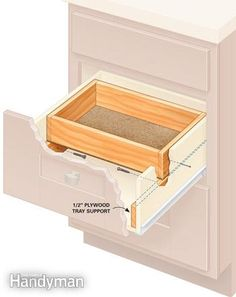 Drawer top tray details - need to do this to my bedroom vanity; drawers are very deep and hard to keep organized. Woodworking Keepsake Box, Woodworking Plans, Woodworking Videos, Woodworking Projects, Woodworking Equipment, Woodworking Shop, Woodworking Classes, Woodworking Jointer, Woodworking Apron