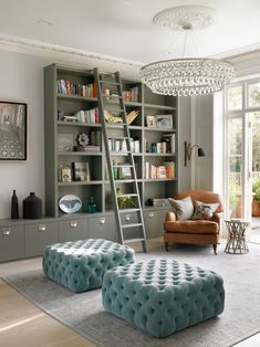 Furniture, Transitional Living Room With Cool Gray Bookcase With Ladder Also Elegant Copper Armchair With Small Occasional Table Also Adorable Blue Pouffe And Wonderful And Elegant Chandelier Also Elegant Gray Carpet: Enchanting Bookcase with Ladder for Storing Your Books Collection