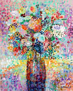 GreenBox Art and Culture Floral Bouquet Lavender Stretched Canvas Wall Art by Angelo Franco, 24 by - - Wall art featuring a vase of multi-colored flowers. Our stretched canvas wall art rep Contemporary Wall Art, Modern Art, Painting Prints, Art Prints, Abstract Paintings, Oil Paintings, Art Themes, Floral Bouquets, Beautiful Paintings