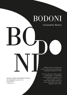 SW: Bodoni typeface poster on Student Show
