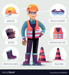 Find Worker Safety Equipment Man Wearing Helmet stock images in HD and millions of other royalty-free stock photos, illustrations and vectors in the Shutterstock collection. Thousands of new, high-quality pictures added every day. Health And Safety Poster, Safety Posters, Lab Safety, Safety Helmet, Safety Work, Adobe Illustrator, Safety Pictures, Workplace Safety Tips, Safety Slogans