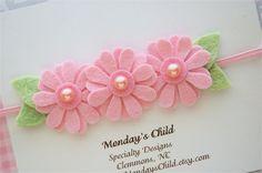 Felt Flower Headband in Daisy Pink Newborn by MyMondaysChild