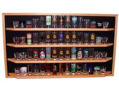 60 Shot Glass/Shooter Display Case - Open Faced Rack Cabinet Holder