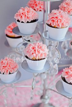 Paris dessert table with pink ruffled cupcakes