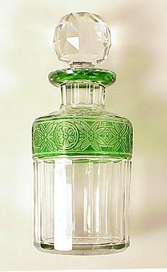 French Art Deco Cameo Glass Perfume Bottle  not a fan of the stopper, but I love the green detailed band