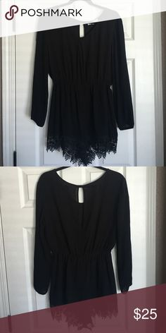 Black Romper Super cute black romper with floral ends! Button up slit on back. love tree Dresses Long Sleeve