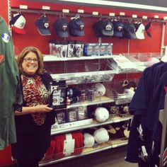 Tricia with our Baby Fanatic gift set inside the Target flagship in Minneapolis!