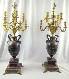 32-Inch-Massive-19th-C-French-F-BARBEDIENNE-Bronze-Gilt-Candelabras-c-1880