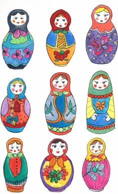 Munecas - color and pattern ideas for people painted on rocks