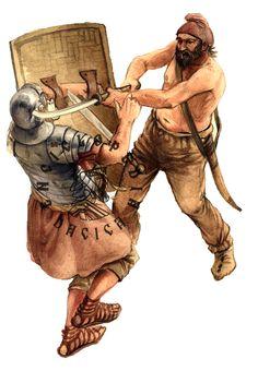 Dacian vs. Roman legionary during the Dacian wars