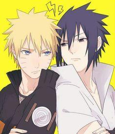 """""""Teme!"""" """"usuratonkachi!"""" Naruto vs Sasuke XD"""