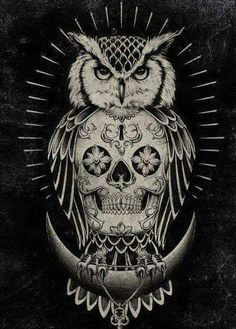 Skull Owl Love #art ♡♡