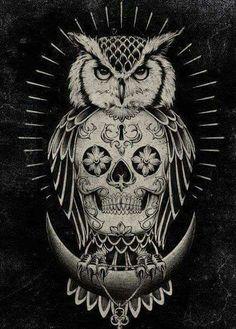Skull Owl Love #art ♡♡