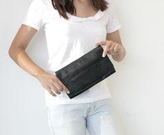 Holiday Sale Oversized clutch bag wallet , Black leather wallet , Leather wallet women by BarLeather on Etsy