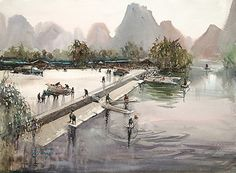 Yangshuo, China III by Keiko Tanabe Watercolor ~ 21.5 x 29.5 inches (55x75 cm)