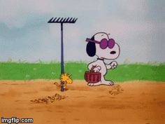 Woodstock and snoopy planting seeds.