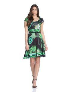 Desigual Lauralet - Vestito, manica corta, donna, Verde (Grün (Verde Mckennan)), 42 IT (M) (38 DE) -