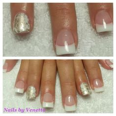 White French Acrylic Nails with Silver Feature Nail Stamp