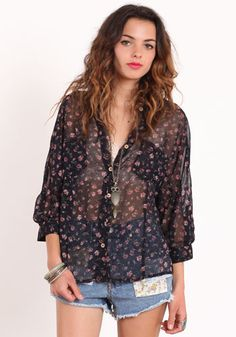 Feeling Free Floral Button Up Blouse