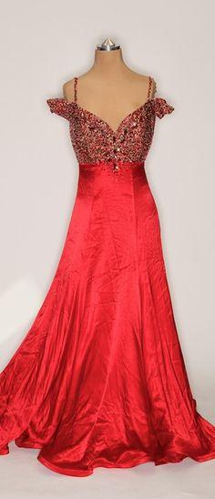 Nude Mesh w/ Red Satin Skirt Ballgown