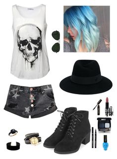 """""""Seven Nation Army // The White Stripes"""" by partypoison101 ❤ liked on Polyvore featuring Topshop, Pomellato, Lulu*s, Glamorous, Ray-Ban, Maison Michel, MAC Cosmetics and Bobbi Brown Cosmetics"""