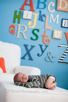 Alphabet wall art in nursery.