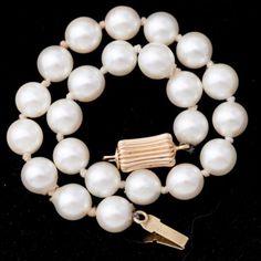 Antique-Vintage-1940-Art-Deco-14k-Gold-6-mm-Akoya-Pearl-Estate-Tennis-Bracelet
