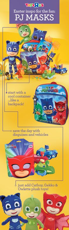 Think outside the Easter basket! For a fun Easter gift for the PJ Masks fan in your life, fill a character backpack with everything your little buddy loves. Or mix & match themes and characters for more Easter basket ideas & some easy Easter DIY fun!
