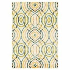 "Anchor your living room seating group or define space in the den with this Egyptian-made rug, showcasing an overlapping kaleidoscope-inspired motif for eye-catching appeal.   Product: RugConstruction Material: PolypropyleneColor: Ivory and multiFeatures: Made in EgyptMachine-madePile Height: 0.5""Note: Please be aware that actual colors may vary from those shown on your screen. Accent rugs may also not show the entire pattern that the corresponding area rugs have.Cleaning and Care: Blot ..."