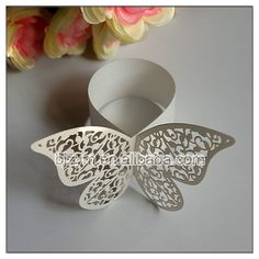 Wholesale White Butterfly shape Napkin Ring Paper Rings for home restaurant decoration