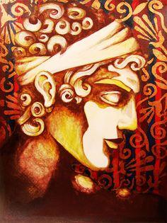Greek Mythology Paintings on Wood and Paper by Mario Sayavedra, via Behance