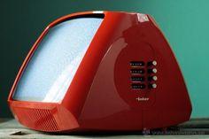 Televisor portatil televisión vintage INTER Electronic rojo space age retro españa 70's