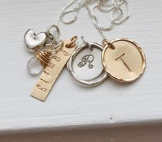 Family Necklace .. Initial Necklace ..Sterling Silver and Gold, Personalized Jewelry , Custom Hand Stamped Mother's Necklace