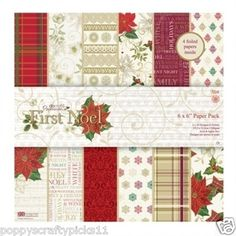 32 SHEET 6 x 6 FULL PACK FIRST NOEL CHRISTMAS CARD MAKING BACKING PAPER